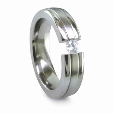 Edward Mirell 6mm Tension Set 0.16ctw Diamond Titanium Ring with Borders