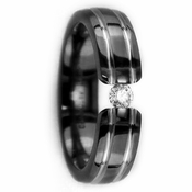Edward Mirell 6mm Tension Set Black Titanium Ring