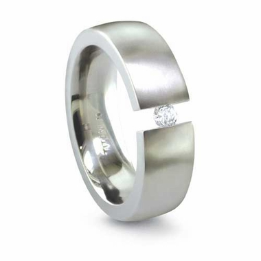 Edward Mirell 6mm Tension Set Diamond Titanium Ring  0.10ctw