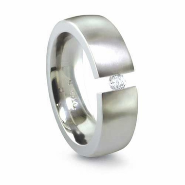 Edward Mirell 6mm Tension Set Diamond Titanium Ring  0.16ctw