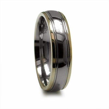 Edward Mirell 6mm Titanium Ring with 14K Yellow Gold Edges