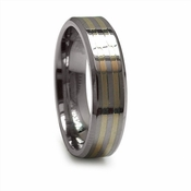 Edward Mirell 6mm Titanium Ring with 14K Yellow Gold Inlays