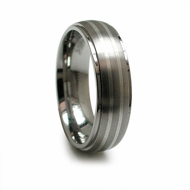 Edward Mirell 6mm Titanium Ring with Double Sterling Silver Inlay