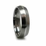 Edward Mirell 6mm Titanium Ring with Raised Sterling Silver Center