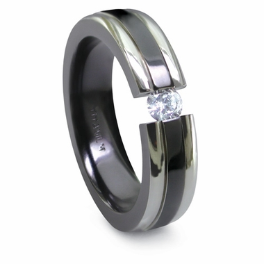Edward Mirell 6mm Two-Tone Tension Set 0.10ctw Diamond  Black Titanium  Ring