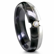 Edward Mirell 6mm Two Tone Titanium 0.06ctw Diamond Ring