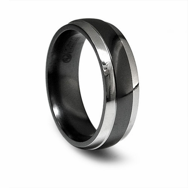 Edward Mirell 7mm Black and Gray Titanium Ring