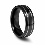 Edward Mirell 7mm Black and Gray Titanium Ring with Gray Grooves