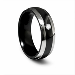 Edward Mirell 7mm Black Titanium Diamond Ring