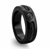 Edward Mirell R904B-S 7mm Black Titanium Ring with Black Cable and Spinel