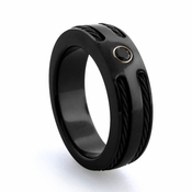 Edward Mirell 7mm Black Titanium Ring with Black Spinel and Double Cable
