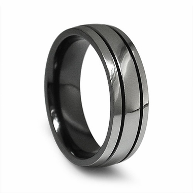 Edward Mirell 7mm Black Titanium Ring with Grooves