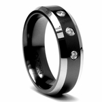 Edward Mirell 7mm Black Titanium Three Diamond Ring