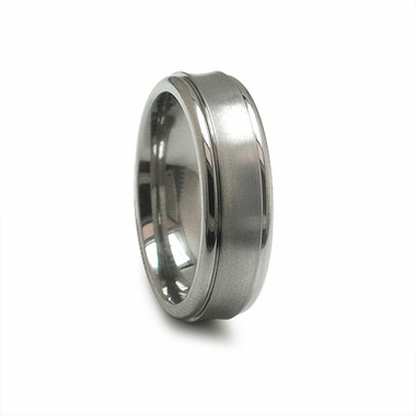 Edward Mirell 7mm Dual Finish Titanium Concave Ring