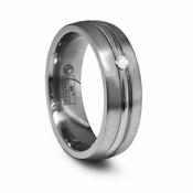 Edward Mirell 7mm Dual Finish Titanium Diamond Ring