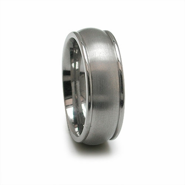 Edward Mirell 7mm Dual Finish Titanium Dome Ring