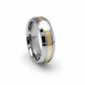 Edward Mirell 7mm Dual Finish Titanium Ring with 14K Yellow Gold Inlay