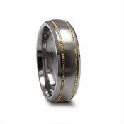 Edward Mirell 7mm Dual Finish Titanium Ring with 14K Yellow Gold Milgrain