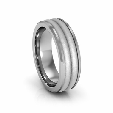 Edward Mirell 7mm Dual Finish Titanium Ring with Double Center