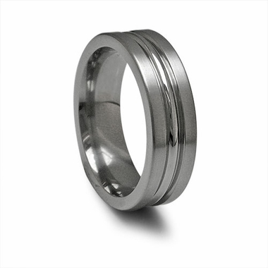 Edward Mirell 7mm Dual Finish Titanium Ring with Grooves