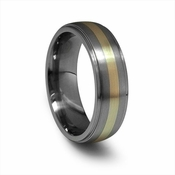 Edward Mirell 7mm Gray Titanium Ring with 14K Yellow Gold Inlay