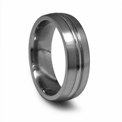 Edward Mirell 7mm Gray Titanium Ring with Polished Center