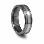 Edward Mirell 7mm Gray Titanium Ring with Silver Inlay