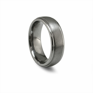 Edward Mirell 7mm Gray Titanium Ring with Step Edges
