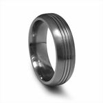 Edward Mirell 7mm Gray Titanium Ring with Two Grooves