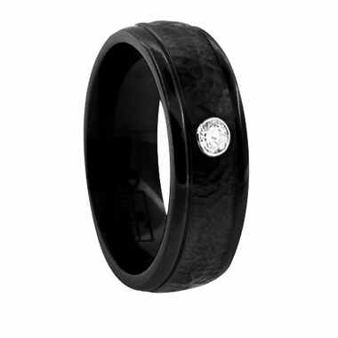 Edward Mirell 7mm Hammered Black Titanium Diamond Ring