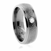 Edward Mirell 7mm Hammered Titanium Diamond Ring