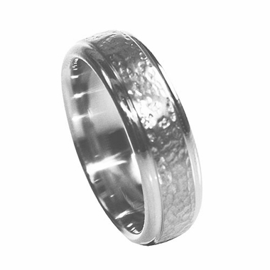 Edward Mirell 7mm Hammered Titanium Ring