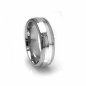 Edward Mirell 7mm Polished Titanium Ring with Sterling Silver Inlay