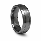 Edward Mirell 7mm Round Profile Titanium Wedding Band with Grooves