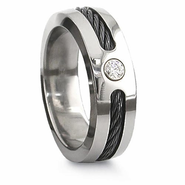 Edward Mirell 7mm Titanium Diamond Ring with Black Cable