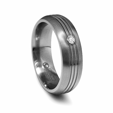 Edward Mirell 7mm Titanium Diamond Ring with Grooves