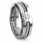 Edward Mirell 7mm Titanium Diamond Ring with Sterling Silver Inlay