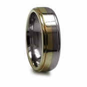 Edward Mirell 7mm Titanium Ring with 14K Yellow Gold Inlay