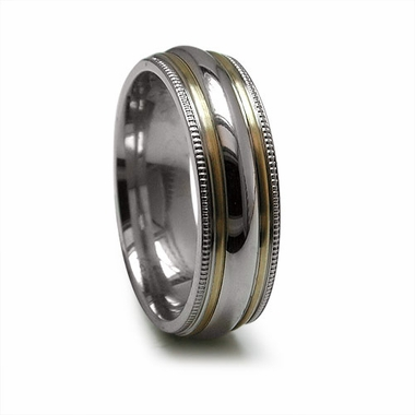 Edward Mirell 7mm Titanium Ring with Double 14K Yellow Gold Inlay