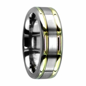 Edward Mirell 7mm Titanium Ring with Gold Inlay
