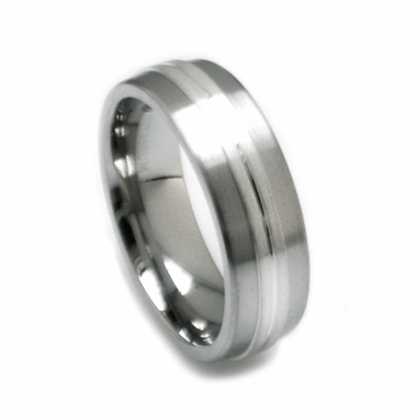 Edward Mirell 7mm Titanium Ring with Sterling Silver Center