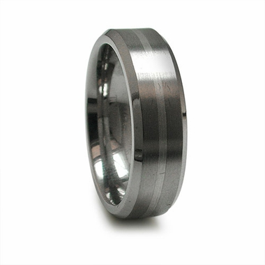 Edward Mirell 7mm Titanium Ring with Sterling Silver Inlay