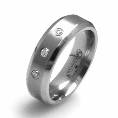 Edward Mirell 7mm Titanium Three Diamond Ring