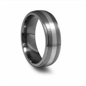 Edward Mirell 7mm Titanium Wedding Band with Silver Inlay