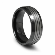 Edward Mirell 8mm Black and Gray Titanium Band with Beveled Edges