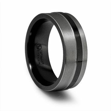 Edward Mirell 8mm Black and Gray Titanium Ring
