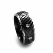 Edward Mirell 8mm Black Titanium and Diamonds Ring with Ripple Center