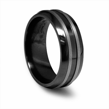 Edward Mirell 8mm Black Titanium Band with Gray Grooves