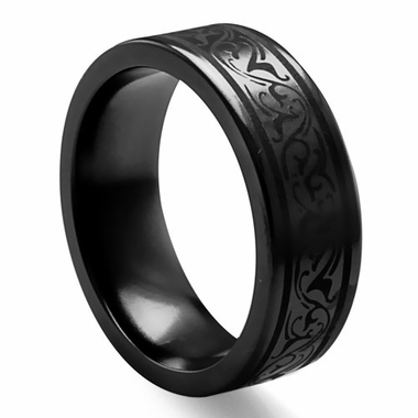 Edward Mirell 8mm Black Titanium Ring with Laser Engraved Patterns