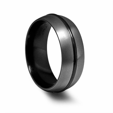 Edward Mirell 8mm Black Titanium Ring with Raised Center